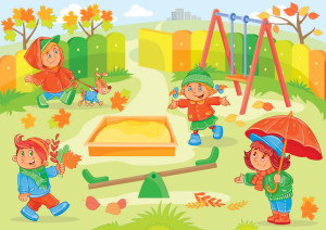 Vector illustration of young children playing