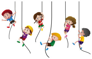 Many kids climbing up the rope