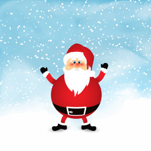 Santa on snowy watercolour background