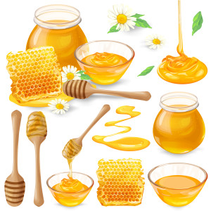 Set of vector illustrations of honey in honeycombs, in a jar, dripping from honey dipper