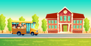 Vector cartoon kids back to school on yellow bus