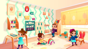 Vector montessori room with children playing games